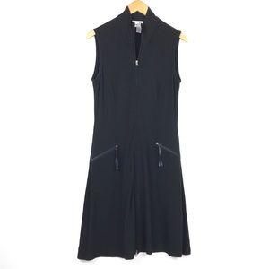Joseph Ribkoff Two Way Zip Knit Black Dress Sz 10